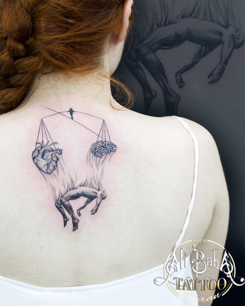 bodrum dövme piercing acrobat tattoo cambaz dövme kalp beyin heart brain piercing